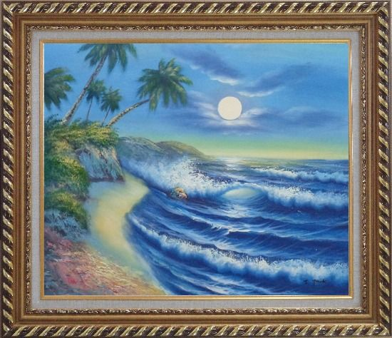 Framed Evening Blue Ocean Wave with Palm Trees Oil Painting Seascape America Naturalism Exquisite Gold Wood Frame 26 x 30 Inches