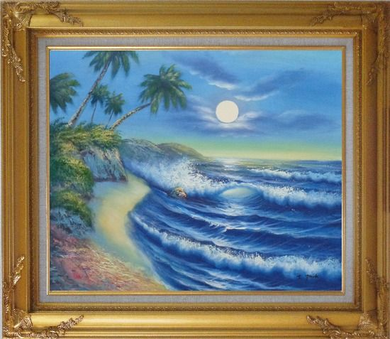 Framed Evening Blue Ocean Wave with Palm Trees Oil Painting Seascape America Naturalism Gold Wood Frame with Deco Corners 27 x 31 Inches