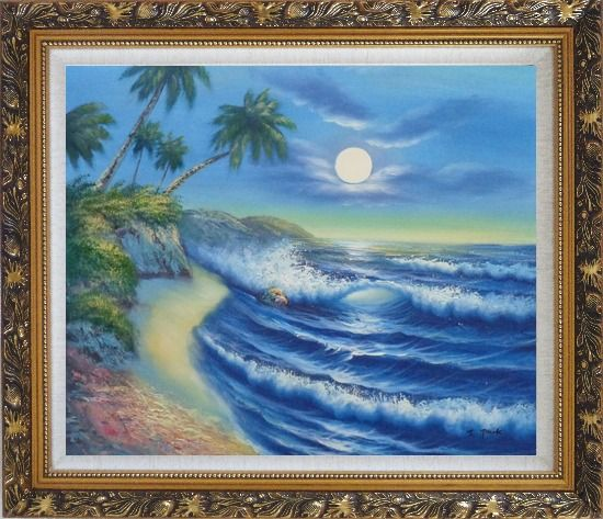 Framed Evening Blue Ocean Wave with Palm Trees Oil Painting Seascape America Naturalism Ornate Antique Dark Gold Wood Frame 26 x 30 Inches