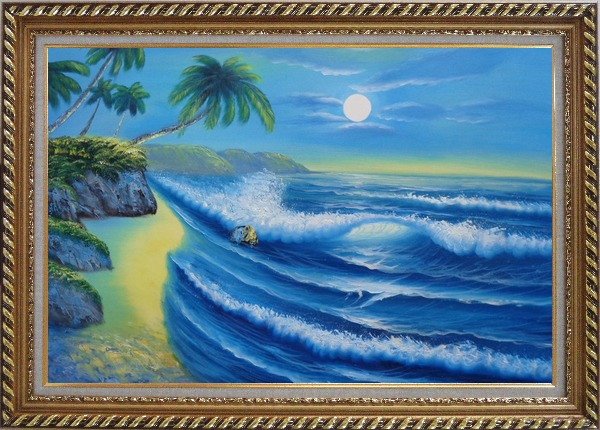 Framed Evening Blue Ocean Wave with Palm Trees Oil Painting Seascape America Naturalism Exquisite Gold Wood Frame 30 x 42 Inches