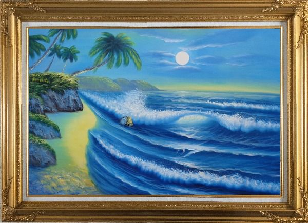 Framed Evening Blue Ocean Wave with Palm Trees Oil Painting Seascape America Naturalism Gold Wood Frame with Deco Corners 31 x 43 Inches