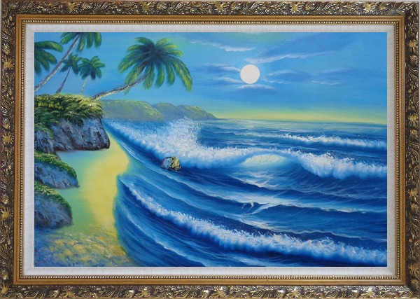 Framed Evening Blue Ocean Wave with Palm Trees Oil Painting Seascape America Naturalism Ornate Antique Dark Gold Wood Frame 30 x 42 Inches