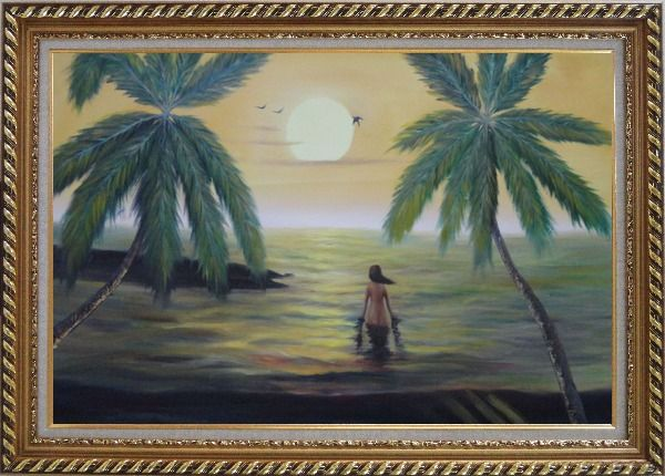 Framed Peaceful Moment in Oceanside Oil Painting Seascape Impressionism Exquisite Gold Wood Frame 30 x 42 Inches