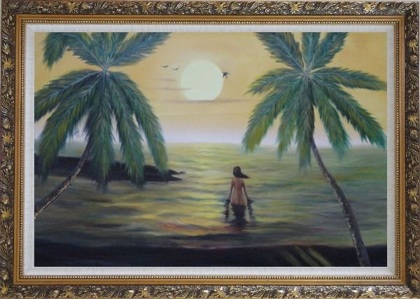 Framed Peaceful Moment in Oceanside Oil Painting Seascape Impressionism Ornate Antique Dark Gold Wood Frame 30 x 42 Inches