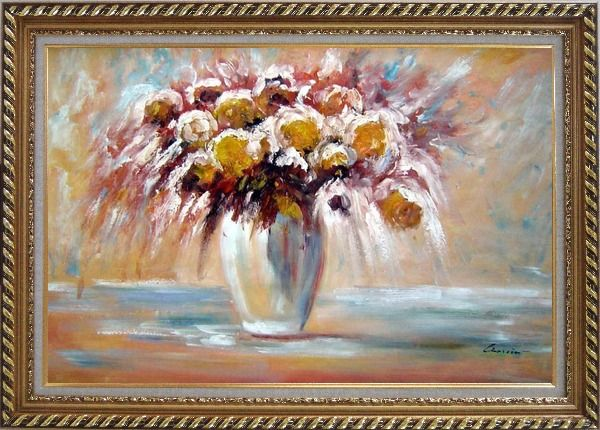 Framed Delightful Flowers in Vase Oil Painting Still Life Bouquet Impressionism Exquisite Gold Wood Frame 30 x 42 Inches