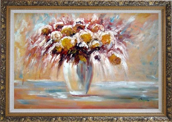 Framed Delightful Flowers in Vase Oil Painting Still Life Bouquet Impressionism Ornate Antique Dark Gold Wood Frame 30 x 42 Inches
