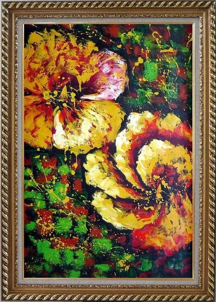 Framed Gorgeous Blooming Yellow Flowers Oil Painting Modern Exquisite Gold Wood Frame 42 x 30 Inches