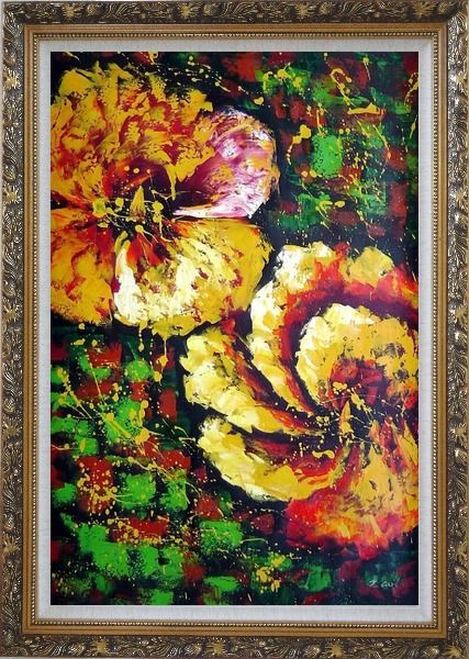 Framed Gorgeous Blooming Yellow Flowers Oil Painting Modern Ornate Antique Dark Gold Wood Frame 42 x 30 Inches