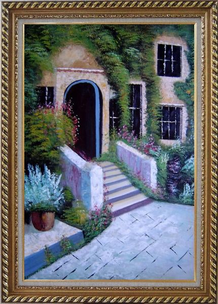 Framed House Surrounded by Flowers Oil Painting Garden France Naturalism Exquisite Gold Wood Frame 42 x 30 Inches