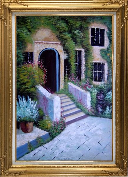Framed House Surrounded by Flowers Oil Painting Garden France Naturalism Gold Wood Frame with Deco Corners 43 x 31 Inches