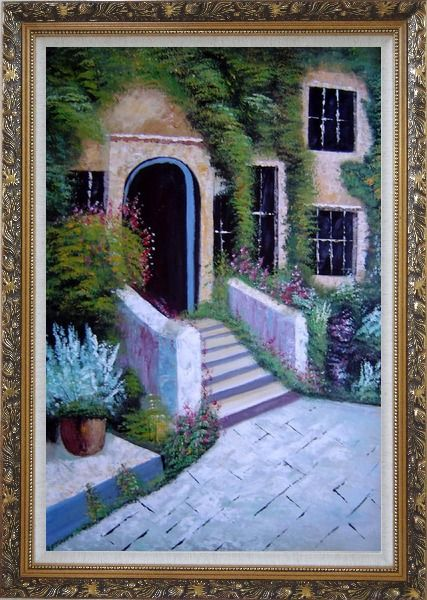 Framed House Surrounded by Flowers Oil Painting Garden France Naturalism Ornate Antique Dark Gold Wood Frame 42 x 30 Inches