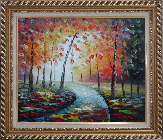Framed Tranquillity Trail in Autumn Forest Oil Painting Landscape Tree Modern Exquisite Gold Wood Frame 26 x 30 Inches