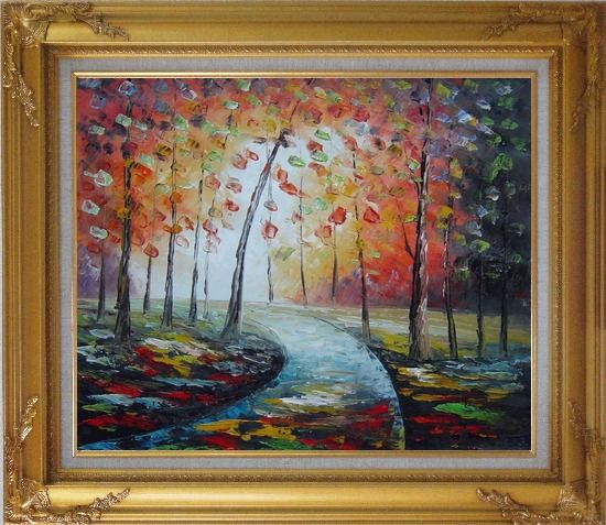 Framed Tranquillity Trail in Autumn Forest Oil Painting Landscape Tree Modern Gold Wood Frame with Deco Corners 27 x 31 Inches