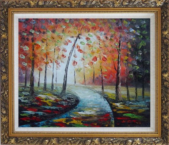 Framed Tranquillity Trail in Autumn Forest Oil Painting Landscape Tree Modern Ornate Antique Dark Gold Wood Frame 26 x 30 Inches