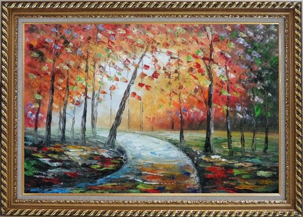 Framed Tranquillity Trail in Autumn Forest Oil Painting Landscape Tree Modern Exquisite Gold Wood Frame 30 x 42 Inches