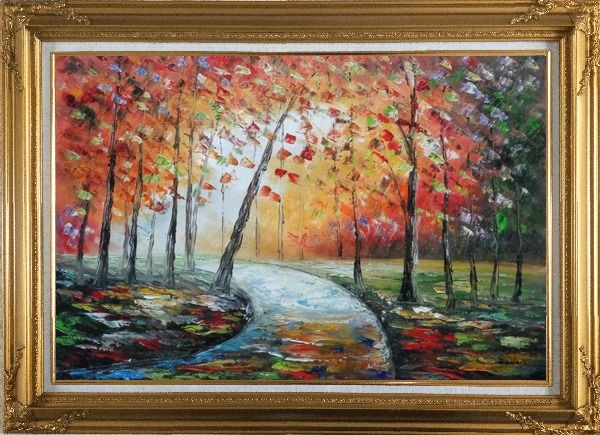 Framed Tranquillity Trail in Autumn Forest Oil Painting Landscape Tree Modern Gold Wood Frame with Deco Corners 31 x 43 Inches