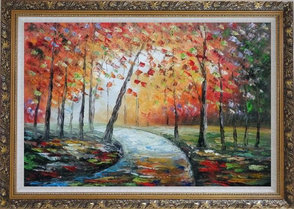 Framed Tranquillity Trail in Autumn Forest Oil Painting Landscape Tree Modern Ornate Antique Dark Gold Wood Frame 30 x 42 Inches