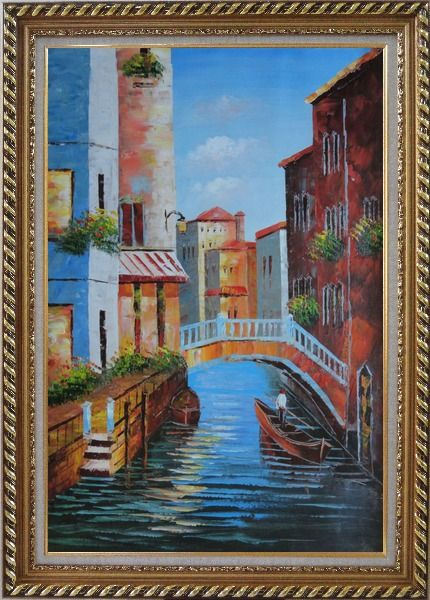 Framed Gondola in a Little Canal in Venice Oil Painting Italy Impressionism Exquisite Gold Wood Frame 42 x 30 Inches