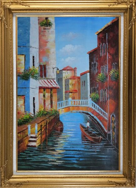 Framed Gondola in a Little Canal in Venice Oil Painting Italy Impressionism Gold Wood Frame with Deco Corners 43 x 31 Inches