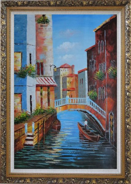 Framed Gondola in a Little Canal in Venice Oil Painting Italy Impressionism Ornate Antique Dark Gold Wood Frame 42 x 30 Inches