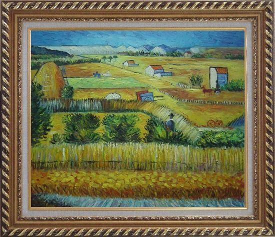 Framed Harvest At La Crau With Montmajour, Van Gogh Oil Painting Village Netherlands Post Impressionism Exquisite Gold Wood Frame 26 x 30 Inches