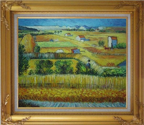 Framed Harvest At La Crau With Montmajour, Van Gogh Oil Painting Village Netherlands Post Impressionism Gold Wood Frame with Deco Corners 27 x 31 Inches