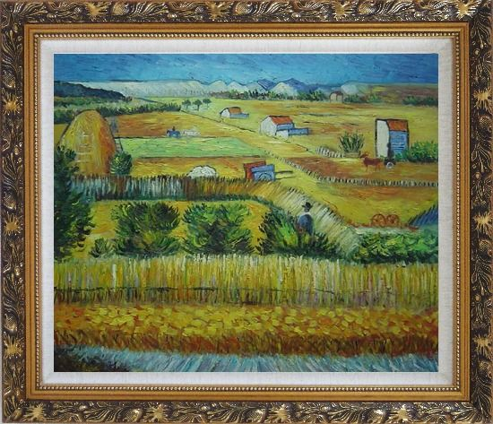 Framed Harvest At La Crau With Montmajour, Van Gogh Oil Painting Village Netherlands Post Impressionism Ornate Antique Dark Gold Wood Frame 26 x 30 Inches