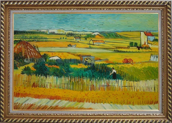 Framed Harvest At La Crau With Montmajour, Van Gogh Oil Painting Village Netherlands Post Impressionism Exquisite Gold Wood Frame 30 x 42 Inches