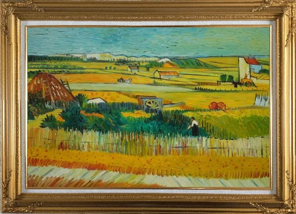 Framed Harvest At La Crau With Montmajour, Van Gogh Oil Painting Village Netherlands Post Impressionism Gold Wood Frame with Deco Corners 31 x 43 Inches