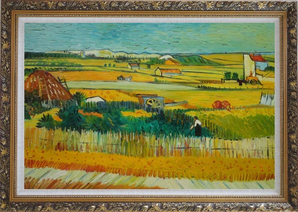 Framed Harvest At La Crau With Montmajour, Van Gogh Oil Painting Village Netherlands Post Impressionism Ornate Antique Dark Gold Wood Frame 30 x 42 Inches