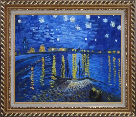 Framed Starry Night Over the Rhone, Van Gogh replica Oil Painting Landscape River France Post Impressionism Exquisite Gold Wood Frame 26 x 30 Inches