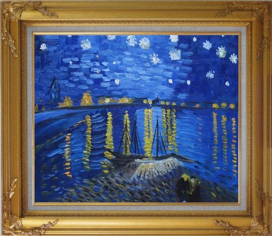 Framed Starry Night Over the Rhone, Van Gogh replica Oil Painting Landscape River France Post Impressionism Gold Wood Frame with Deco Corners 27 x 31 Inches
