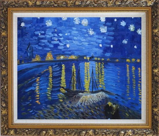 Framed Starry Night Over the Rhone, Van Gogh replica Oil Painting Landscape River France Post Impressionism Ornate Antique Dark Gold Wood Frame 26 x 30 Inches