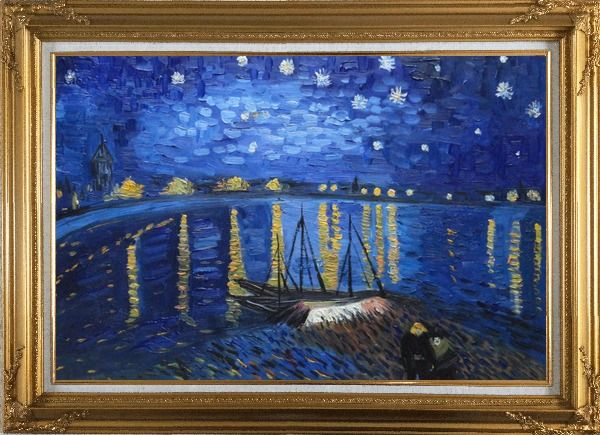 Framed Starry Night Over the Rhone, Van Gogh replica Oil Painting Landscape River France Post Impressionism Gold Wood Frame with Deco Corners 31 x 43 Inches