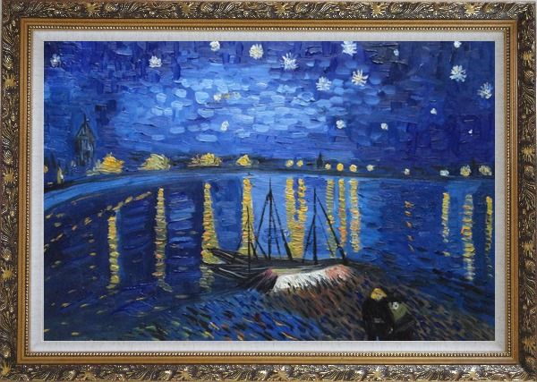Framed Starry Night Over the Rhone, Van Gogh replica Oil Painting Landscape River France Post Impressionism Ornate Antique Dark Gold Wood Frame 30 x 42 Inches