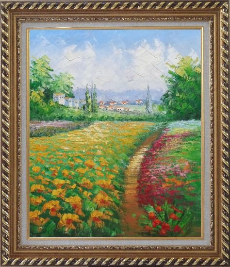 Framed Tuscan Pleasures Oil Painting Landscape Field Impressionism Exquisite Gold Wood Frame 30 x 26 Inches