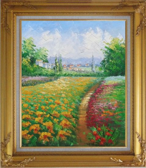 Framed Tuscan Pleasures Oil Painting Landscape Field Impressionism Gold Wood Frame with Deco Corners 31 x 27 Inches