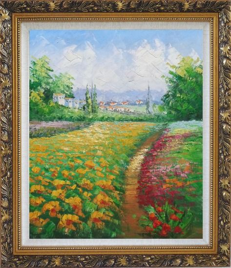 Framed Tuscan Pleasures Oil Painting Landscape Field Impressionism Ornate Antique Dark Gold Wood Frame 30 x 26 Inches