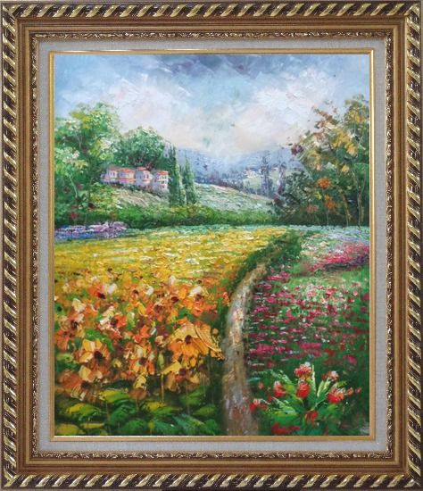Framed Flowering Meadow around Village Oil Painting Landscape Field Impressionism Exquisite Gold Wood Frame 30 x 26 Inches