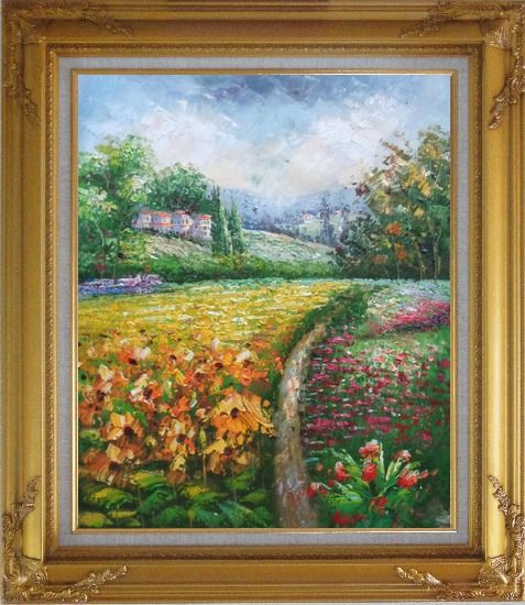 Framed Flowering Meadow around Village Oil Painting Landscape Field Impressionism Gold Wood Frame with Deco Corners 31 x 27 Inches