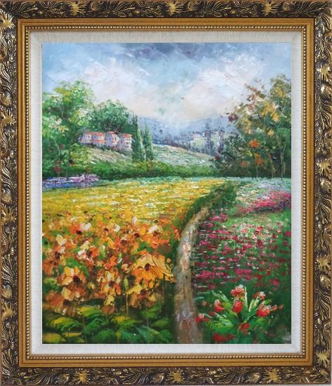 Framed Flowering Meadow around Village Oil Painting Landscape Field Impressionism Ornate Antique Dark Gold Wood Frame 30 x 26 Inches