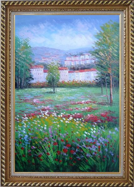 Framed Flowering Meadow around Village Oil Painting Landscape Field Naturalism Exquisite Gold Wood Frame 42 x 30 Inches