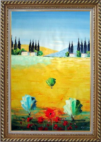 Framed Sunny Tuscany Oil Painting Landscape Naturalism Exquisite Gold Wood Frame 42 x 30 Inches