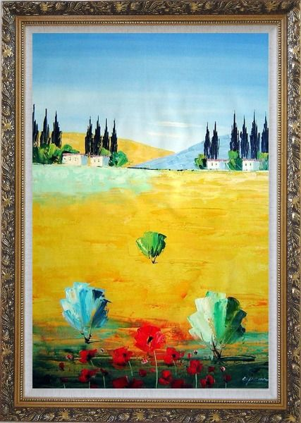 Framed Sunny Tuscany Oil Painting Landscape Naturalism Ornate Antique Dark Gold Wood Frame 42 x 30 Inches
