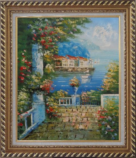 Framed Mediterranean Dreams Oil Painting Naturalism Exquisite Gold Wood Frame 30 x 26 Inches
