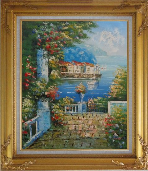 Framed Mediterranean Dreams Oil Painting Naturalism Gold Wood Frame with Deco Corners 31 x 27 Inches