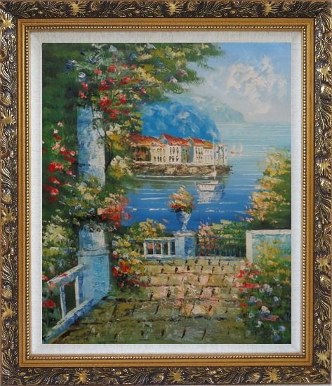 Framed Mediterranean Dreams Oil Painting Naturalism Ornate Antique Dark Gold Wood Frame 30 x 26 Inches