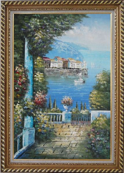 Framed Mediterranean Dreams Oil Painting Naturalism Exquisite Gold Wood Frame 42 x 30 Inches