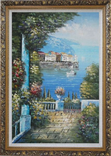Framed Mediterranean Dreams Oil Painting Naturalism Ornate Antique Dark Gold Wood Frame 42 x 30 Inches