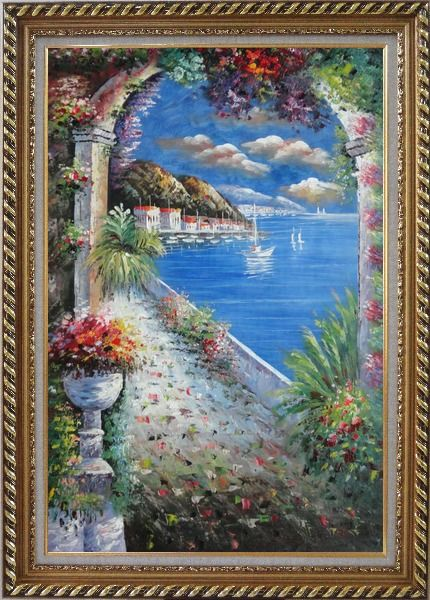Framed Mediterranean Arch Oil Painting Naturalism Exquisite Gold Wood Frame 42 x 30 Inches
